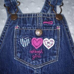 Baby girl OshKosh B'gosh overalls hearts 12 months